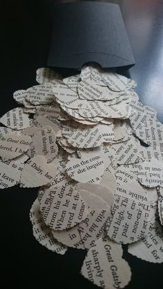 250 pieces of heart-shaped book confetti with scalloped edges, handmade using recycled pages from F Scott Fitzgeralds classic book The Great Gatsby.  An ideal table decoration for a literary themed wedding/birthday or book party. This confetti could also be used as a wedding/party favour, stocking-filler or for scrap booking.  Confetti comes supplied in a clear sealed bag which can be composted after use.  I also sell book confetti in larger packs of 1000 pieces, please see my other shop…