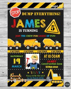 CONSTRUCTION INVITATION INVITE CARD BIRTHDAY PARTY TRANSPORTATION DUMP TRUCK #PersonalisedInvitations #Birthday
