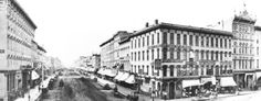 Monroe & Pearl, looking north toward Michigan St.  The taller four story building on the right is now Flanagan's, and Sweet's Hotel (now the Pantlind/Amway Grand) is on the far left.  - 1888