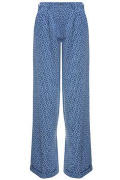 #GülçinUzunalan - Mavi Desenli Yüksek Bel Pantolon