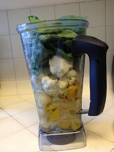 Vitamixer vegetable soup  Cauliflower (about 1/2 head)  1 pepper  1 onion  5 cloves garlic  1 potato  Spinach (large bunch)  5 C water (add more if too thick)  Garlic powder  Salt  Pepper  Braggs liquid amino acid            Vegetable better than broth    Olive oil