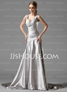 Evening Dresses - $136.99 - A-Line/Princess V-neck Sweep Train Charmeuse Evening Dresses With Ruffle (017004173) http://jjshouse.com/A-line-Princess-V-neck-Sweep-Train-Charmeuse-Evening-Dresses-With-Ruffle-017004173-g4173