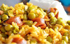 Αρακάς με ρύζι και ριγανάτα λουκάνικα