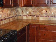 travertine tile backsplash | Noche Blend Tumbled Travertine with Glass Accents
