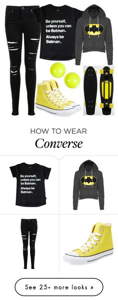 """Batman! <33"" by kirra-1994 on Polyvore featuring Miss Selfridge, Converse and Alexis Bittar"