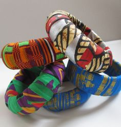 African Print Fabric wrapped bangles  YOUR by shopfoundobjects, $18.00