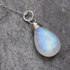 Necklace Rainbow Moonstone Sterling Silver Wire Wrapped Smooth Briolette Pendant  with Sterling Silver Chain