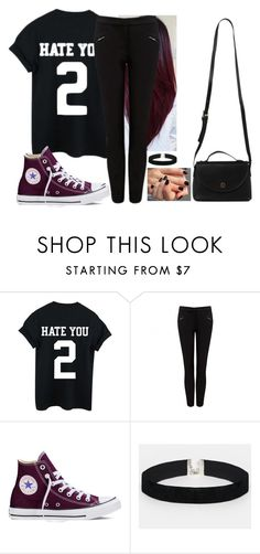 """""""🌑🖤"""" by hannahmcpherson12 ❤ liked on Polyvore featuring Forever New, Converse, ASOS and Azalea"""