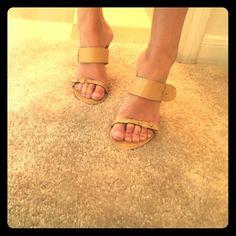 "BCBGMaxAzria Nude Heels Classic and sleek nude heel with two classic buckles. 2"" Heel it's Chrome detail. Comfortable & Classic! BCBGMaxAzria Shoes Heels"