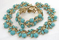 Vintage Crown Trifari Turquoise Necklace Bracelet Glass Rhinestone | eBay