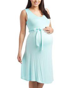 Look what I found on #zulily! Mint Sash-Tie Maternity Empire-Waist Dress #zulilyfinds