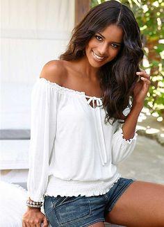 Lascana White Beach Top Autumn T Shirts Spring Casual Tops Shirt