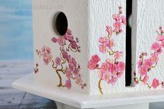 Decorative Painting Bird Houses   Cherry Tree Birdhouse, using napkin decoupage on textured wood video ...