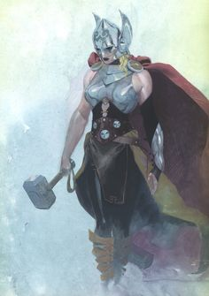 Art for Marvel's Female Thor. Keep in mind that the current Thor will not change into a girl; he becomes unworthy and she takes up the mantle. Only Captain America and Storm, to my knowledge, have ever wielded the hammer.