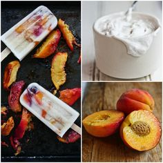 Roasted peaches & coconut cream popsicles food сладости, вкусняшки e ре Frozen Desserts, Frozen Treats, Just Desserts, Delicious Desserts, Yummy Food, Paleo Dessert, Dessert Recipes, Paleo Sweets, Paleo Food