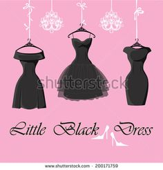 The composition of the three female's little black dresses hang on ribbons.Composition with chandeliers,saying, high heel shoes on a pink background Fashion vector Illustration - stock vector id 200171759