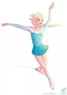 Elsa ice skating. She looks a bit like Gracie Gold when she performed to let it go.