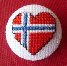 Norwegian Flag Heart Cross Stitch Button by HollysHobbies Cross Stitching, Cross Stitch Embroidery, Embroidery Patterns, Cross Stitch Patterns, Norwegian Flag, Norwegian Christmas, Scandinavian Christmas, Perler Patterns, Craft Patterns