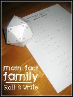 Great for Family Math Night!  Make a 19-sided die for kids to roll and practice math fact families. Free printable die template and answering sheet! by carlani