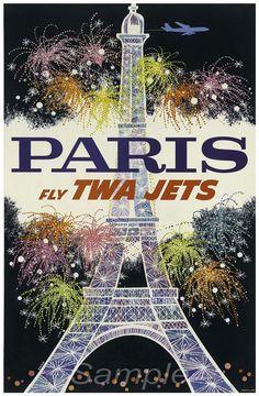 Vintage poster tridimensionale viaggio Parigi Francia TWA