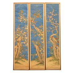 A Very Fine Set of Three Chinese Painted Silk Panels  (via @1stdibs)