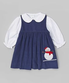 @CoachSarahP  - how cute is this for Ava?? This Navy Snowman Appliqué Dress & White Tee - Toddler by Petit Pomme is perfect! #zulilyfinds