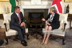 Britain's Prime Minister Theresa May chats with King Abdullah II of Jordan in Downing Street on March 2017 in London, England. Mrs May and King Abdullah are expected to discuss regional trade and. Get premium, high resolution news photos at Getty Images Mrs May, King Abdullah, Theresa May, Prime Minister, Britain, London England, Regional, Royalty, Street