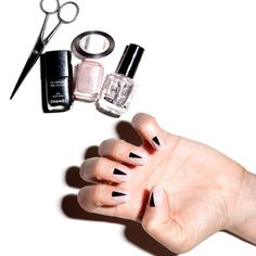 Nail Ideas: The Half-Moon Mani Gets a (Sharp) Twist : Daily Beauty Reporter :  Now, I'm not a nail-art person. I like looking at it and dreaming up cool ideas, but rarely do I end up wearing it. (And when I do, I chip it off in a matter of hours). The other...