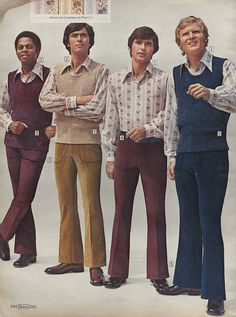 Sweater Vests & Corduroy Bell Bottom Pants in Sears Christmas Wish Book Catalog, 1971, by Wishbook, via Flickr