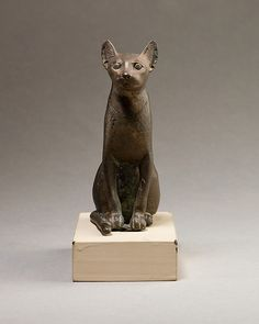 Cat figurine, 664–30 B.C. Egypt The Metropolitan Museum of Art, New York. Theodore M. Davis Collection, Bequest of Theodore M. Davis, 1915 (30.8.104) #cats