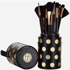 Bh Cosmetics 11 Piece Dot Collection Makeup Brush Set ($22) ❤ liked on Polyvore featuring beauty products, makeup, makeup tools, makeup brushes, bhcosmetics, slanted makeup brush, fan makeup brush, angled makeup brush and fan brush
