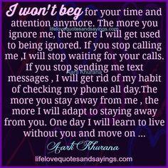 I won't beg....
