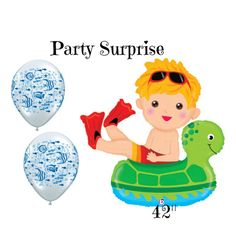 Boy Swimming Balloon Floating Boy Birthday Baby by PartySurprise