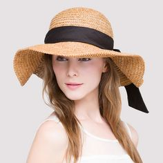 Wide brim straw hat with bow UV protection ladies sun hats package