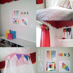 Pinterest Inspired bedroom, Reading Rainbow Room. Rainbows, crayon art, paint sample art, canopy flags, reading bench. Girls bedroom