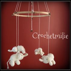 Baby elephant mobile by Crochetmilie on Etsy https://www.etsy.com/listing/231792908/baby-elephant-mobile