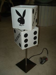 Unusual Playboy Bunny Dice Table Lamp Stainless Steel Base | eBay