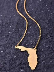 State Necklace - Florida - Gold