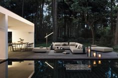 Manutti // Outdoor sofa 2 and 3 seater, pouf and bed. A secret place in the woods - Kumo Collection Outdoor Sofa, Outdoor Living Furniture, Outdoor Spaces, Outdoor Decor, Outdoor Lighting, Outdoor Candle Holders, Outdoor Candles, Garden Furniture Design, Modular Sofa