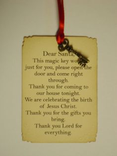 Santa's Magic Key Tag Ornament with Cute Little Key by hazeleyyes, $3.20