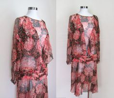 1920s Dress / Floral Silk Chiffon Sheer by GuermantesVintage