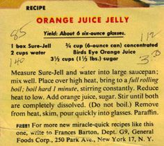 OH.MY.WORD Orang Juice Jelly !!  I don't pin /  re-pin food, as it just makes me hungry (although do have a cake pic or two only cause I used to teach cake dec and it still fascinates me)... anyway, THIS IS THE BEST jelly you'll ever make and it's SO easy. This recipe is really hard to find; came across it while looking for something else on the internet. ENJOY!! <3<3<3