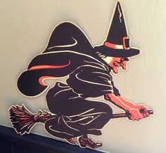 Vintage Halloween Witch Flying on Broom LARGE Die Cut Circa 1950s by santashauntedboot, $55.00
