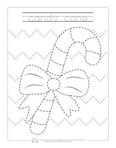 Candy Cane Tracing Worksheets for Kids