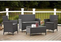 Cosco Outdoor Jamaica 4-piece Resin Wicker Conversation Set Outdoor Furniture