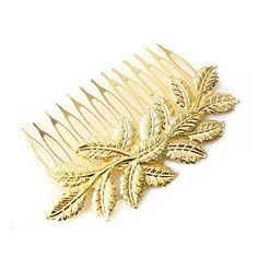 Vintage Gold Leaf Hair Comb Hair Jewelry Hair Accessires Head Jewelry – USD $ 3.49