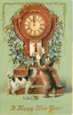 "vintage ""A Happy New Year"" postcard cats"