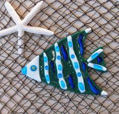 ANGEL Fused Glass FISH Teal Blue White by DawnofCreationArt, $10.00