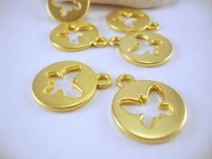 Round Butterfly Matte Gold Plated Charms 6 by ShiShisBoutique, $5.00