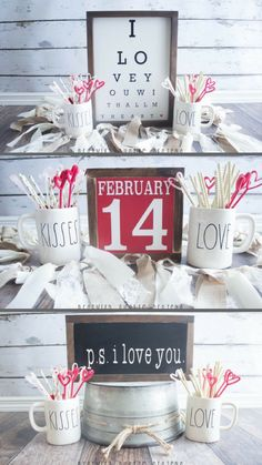 Cute Valentines Day Signs #farmhousestyle #valentinesday #love #iloveyou #red #holiday #february #valentinesdaydecor #rustic #fixerupper #homedecor #sign #eyechart #ad #ss